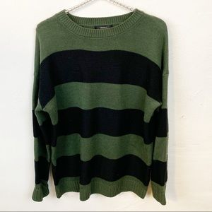 Forever 21 l Black and Green Striped Sweater